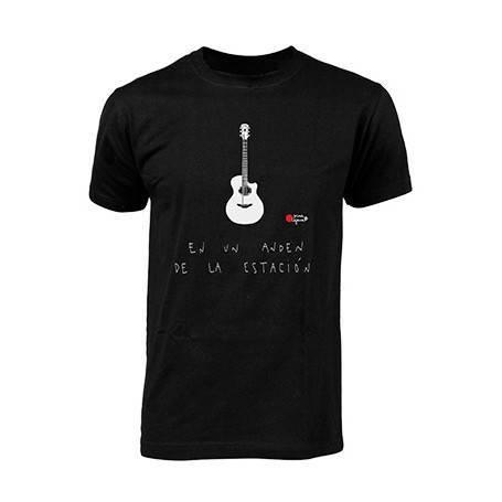 "Camiseta negra chico ""Guitarra andén"""