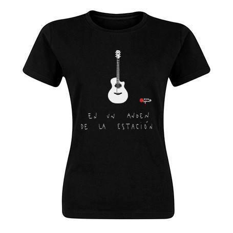 """Camiseta negra chica """"Guitarra andén"""""""
