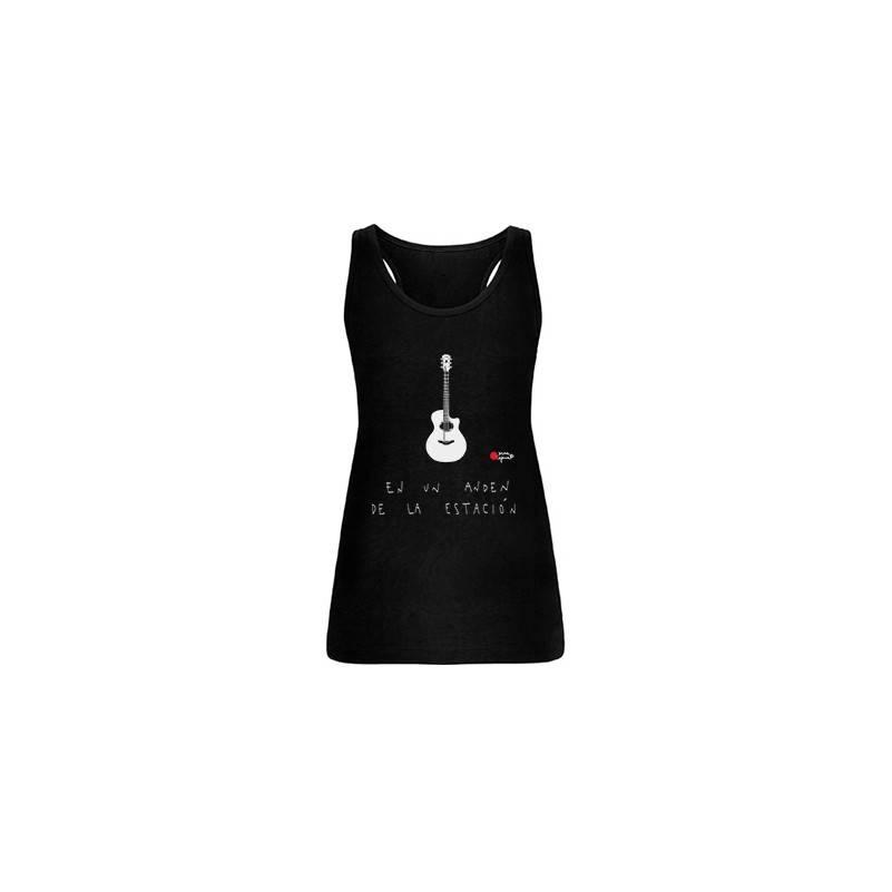 """Camiseta negra chica tirantes """"Guitarra andén"""""""