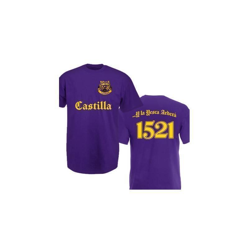 "Camiseta morada chico ""Yesca 1521"" con trasera"
